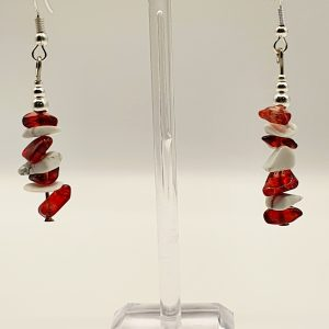 Red and White Gemstone Earrings