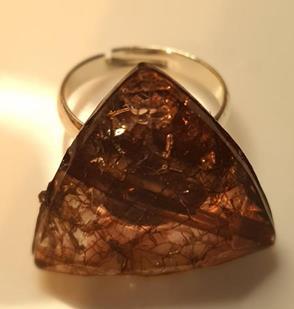 Triangular Shaped Ring - Brown